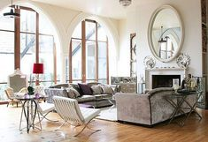 Old Church Turn into Contemporary House - Livingroom with Big Mirror