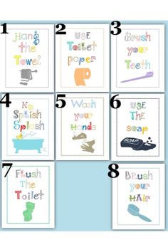 SALE Bathroom Rules for Kids Art Prints choose by LittlePergola Kids Bathroom Art, Bathroom Rules, Bathrooms, Rules For Kids, Art For Kids, Green Room Colors, Toilet Rules, Etiquette And Manners, Rustic Home Design