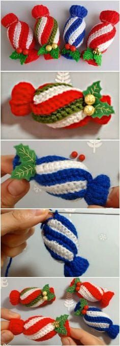 Crochet Christmas Candy Easy Tutorial - Yarn & Hooks Crochet Christmas Candy Easy Tutorial Always aspired to learn to knit, although not sure where to begin? Crochet Christmas Decorations, Crochet Ornaments, Christmas Crochet Patterns, Holiday Crochet, Christmas Knitting, Crochet Diy, Crochet Amigurumi, Crochet Gifts, Tutorial Crochet
