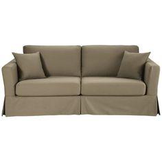 Ausziehbares 3-Sitzer-Sofa aus Baumwolle, taupe Royan