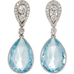 McTeigue & McClelland Women's Bella Verso Double-Drop Earrings ($18,000) ❤ liked on Polyvore featuring jewelry, earrings, light blue, stud earrings, anchor stud earrings, pave jewelry, bezel set earrings and earring jewelry