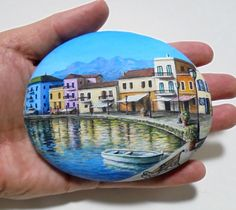Painted Rock With The Old Venetian Harbour In by RockArtAttack