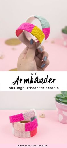 DIY Armbänder aus Joghurtbechern selber machen -Advertising- A quick and easy upcycling idea for summer: Make your own bracelets and bangles from yoghurt cups quickly and easily. Ideal as a DIY gift o Diy Bracelets How To Make, Bracelets Diy, Make Your Own Bracelet, Diy Jewelry Rings, Diy Jewelry Unique, Diy Jewelry To Sell, Diy Jewelry Holder, Diy Jewelry Making, Summer Bracelets