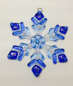 Fused Glass Christmas Ornament Ombré Blue Snowflake by CDChilds
