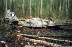 German aircraft of world war 2 landed in the forest near the town of Kirishi.