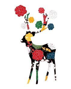 Lovely Deer Print / Black / Flower Pattern di dekanimal su Etsy