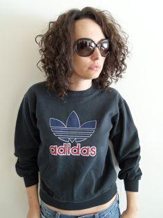 901f75e914 Retro Adidas Small Cropped Sweatshirt  Black  by FunkyOldSoul