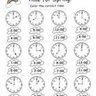 Two telling time worksheets with a spring theme. One portrays time to the hour exclusively and the other includes a combination of hour and half ho...