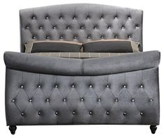 Meridian Furniture Hudson-Sleigh-Q Hudson Collection Grey Velvet Upholstered Sleigh Bed with Crystal Button Tufting, and Custom Solid Wood Legs, Grey, Queen