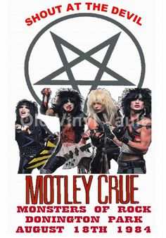 Motley Crue Concert Poster Donington Park,UK Monsters Of Rock 1984 A3 Repro