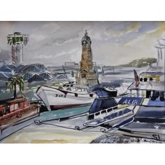 "Barcelona Art Market. ""Barcelona port & clock II"" Technique: WATERCOLOR on paper Artist: BENJAMÍ TOUS Size of set: 46 x 61 cm / 18.1 x 24 inches #painting"