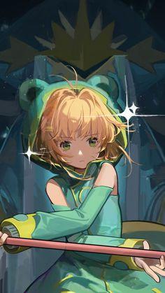 Blonde, green hoodie, Sakura kinomoto, Magic stick, 720x1280 wallpaper