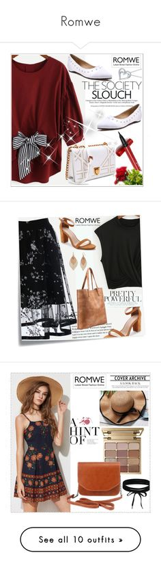 """Romwe"" by adelisa56 ❤ liked on Polyvore featuring romwe, Post-It, Bold Elements, Estée Lauder, Urban Decay, Old Navy, Nine West, Clinique, French Connection and vintage"