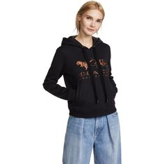 Coach 1941 Rexy & Carriage Hoodie (16.835 RUB) ❤ liked on Polyvore featuring tops, hoodies, black, long sleeve pullover hoodie, pullover hoodies, hooded top, hooded sweatshirt and hooded pullover