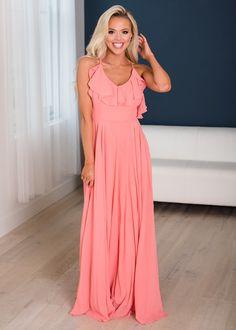 Dancing The Night Away Ruffle Top Dress Peach - Modern Vintage Boutique