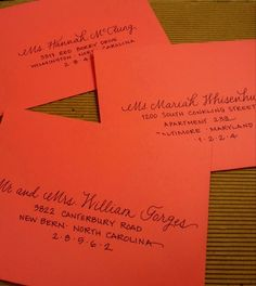 My 'mixed script' in navy ink on coral save-the-date envelopes {Calligraphy by Carrie}