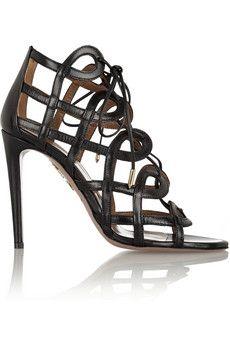 Aquazzura + Olivia Palermo cutout leather sandals | NET-A-PORTER