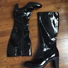 Knee High Pleater Zipper Boots Pleather material. Worn only once-great condition. Zipper boots. Small heel. Bandolino Shoes Heeled Boots