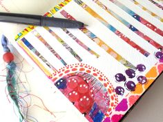 Art journal inspiration. Glue in strips of painted paper, write between them. brilliant!