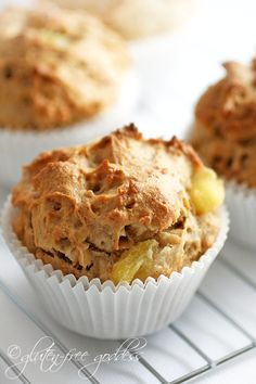 Gluten-Free Pineapple Coconut Muffin — Recipe from Gluten Free Goddess YUM Gluten Free Muffins, Gluten Free Sweets, Gluten Free Cooking, Vegan Gluten Free, Vegan Muffins, Sin Gluten, Pineapple Coconut, Pineapple Muffins, Pineapple Juice