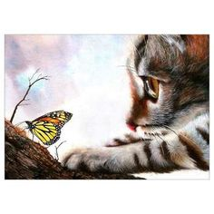 Diamantmalerei – Butterfly With Little Cat I Love Cats, Cute Cats, Curious Cat, Cat Decor, 5d Diamond Painting, Cross Paintings, Art Paintings, Diy Painting, Cat Art