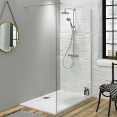 Fino Walk In Shower Screen with Shower Tray The Most Useful Bathroom Shower Ideas Bathroom Shower Enclosures, Bathroom Shower Panels, Shower Doors, Rectangular Shower Enclosures, Walk In Bathroom Showers, Bathroom With Shower And Bath, Bath Shower, Modern Bathroom, Small Bathroom