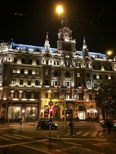 The Boscolo Budapest Hotel, formerly the New York Palace on the Grand Boulevard of Budapest's Erzsébet körút and our home while visiting the city. Color Of Night, Heart Of Europe, World Pictures, Budapest Hungary, Light And Shadow, Homeland, Vienna, Beautiful Places, Tours