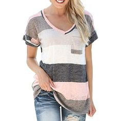 50845ce13 Smalltile Mujeres Verano Camisetas Pullover Casual Camisa Manga Corta Cuello  V Blusa Rayadas Patchwork Elástico Tops
