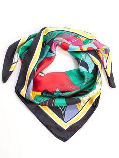 multi color silk square scarf retro floral print