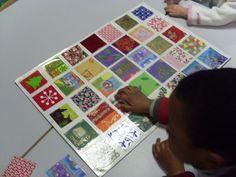 """jeu du lynx """" papiers cadeaux"""" ( le meneur de jeu montre une carte, les autres doivent retrouver le plus rapidement possible le même papier cadeau sur le plateau, le 1er gagne la carte montrée)"""