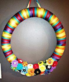 Spring / summer yarn wreath