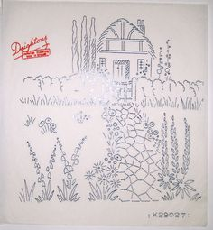 Vintage Deighton embroidery transfer - thatched cottage & country garden scene