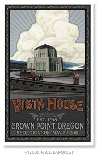 The Vista House was built in 1917 on one of the most beautiful scenic points on the Historic Columbia River Highway, as place for travelers to rest and refresh themselves as they made their way down the magnificent Columbia River Gorge. Friends of Vista House is a non profit group in partnership with Oregon State Parks who work to help preserve and share the story of this beautiful historic Oregon structure.