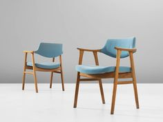 Erik Kirkegaard Set of Four Armchairs in Oak and Light Blue Upholstery 5