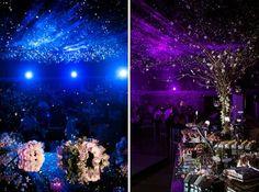 decoración de boda de salón con cielo estrellado, iluminación - Foto: Erick Pozos