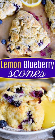 This Lemon Blueberry Scones recipe is a delightful addition to any breakfast or brunch! Fresh blueberries and loads of lemon zest add an irresistible freshness to these easy to make scones. Serve with lemon curd and cream for an afternoon tea experience everyone will love! // Mom On Timeout #brunch #breakfast #tea #blueberries #blueberry #lemon #scones #scone #recipe #recipes