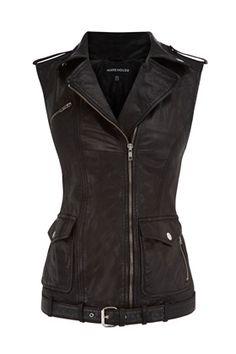 Sleeveless Leather Biker Jacket | WAREHOUSE