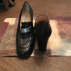 Slightly worn Dolce & Gabbana loafer style heel Leather with silver buckle Dolce & Gabbana Shoes Heels