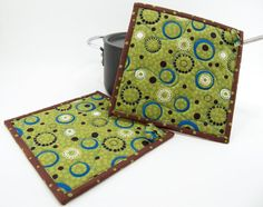 Fabric Hot Pads Quilted Pot Holders Olive Green by HotPotHolder