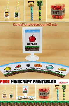 FREE Minecraft Party Printables! Signs, tags, toppers, drink labels & more! Lots of Minecraft party supplies, too! Via Kara's Party Ideas KarasPartyIdeas.com