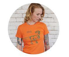 Dinosaur Shirt Gift for Girlfriend Orange Cotton by CausticThreads