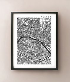 Paris Map Print  Black and White Wall Art by CartoCreative on Etsy, $20.00