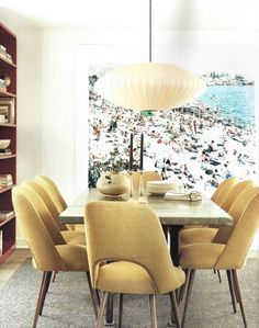 """Shown: Dining room with beach photo. Room photographed by Karyn Millet for Luxe. interiors and design magazine, LA. """"Big Appetite: 20 Dining Rooms With Large Scale Art - Apartment Therapy"""" Dining Room Art, Dining Room Design, Wooden Dining Tables, Dining Chairs, Room Chairs, Dining Set, Wood Table, Large Scale Art, Large Art"""