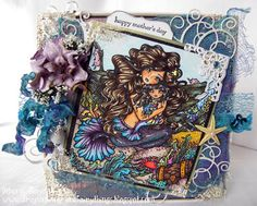 CRAFTS AND ME CHALLENGE AND INSPIRATION BLOG Mother's Day Mom & Child Mermaid Digi Stamp HannahLynn.com