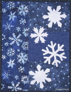 snowflake quilt block Art Quilt Wall Hanging Winter Snowflakes in by TerryAskeArtQuilts Snowflake Quilt, Snowflakes, Quilting Projects, Quilting Designs, Quilting Ideas, Frozen Quilt, Winter Quilts, Landscape Quilts, Blue Quilts
