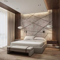 Modern Style Bedroom Design Ideas and Pictures. Shares tips to help you create a modern bedroom style without turning it into a midcentury time capsule. Bedroom False Ceiling Design, Luxury Bedroom Design, Bedroom Furniture Design, Master Bedroom Design, Home Interior Design, Bedroom Designs, Bedroom Ideas, Bedroom Tv, Luxury Furniture