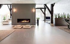 Gietvloer betonlook woonboerderij Really like this look. Starting to think that…