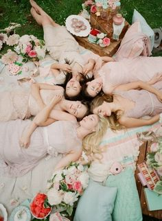 whimsical girlfriends picnic shoot with Gal Meets Glam x @BHLDN | blush bridesmaids dress options