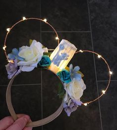 No Xmas Delivery** Ratatouille Remy Inspired Chef Hat Blue Grey Flower Rose Light Up Disney Floral Wire Mickey Minnie Mouse Ear Headband Mickey Mouse Headband, Disney Minnie Mouse Ears, Diy Disney Ears, Disney Diy, Mickey Ears, Disney Stuff, Disney Collage, Disney Artwork, Ratatouille Disney