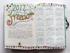 2017 is a year of Freedom! Calendar/everyday bullet style journal, www.valeriesjodin.com